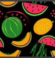 brush grunge watermelon fruits seamless pattern vector image