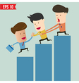 Cartoon business man helping team climbing graph vector image vector image