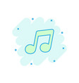 cartoon music icon in comic style sound note sign vector image vector image