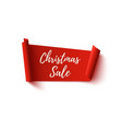 christmas sale banner red abstract ribbon on vector image vector image