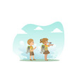 cute kids in explorer outfit hiking girl looking vector image vector image
