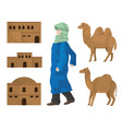 desert houses camels and arab vector image