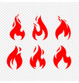 flame icons collection isolated on transparent vector image