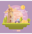Flat with mill and tractor vector image vector image
