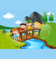 four kids crossing bridge vector image vector image
