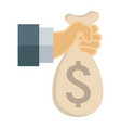 hand holding money bag flat icon business vector image vector image