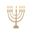hanukkah menorah with burning candles vector image