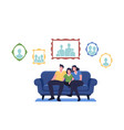 happy family sitting on couch in living room vector image vector image