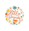 hello summer emblem with summer elements vector image