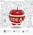 Infographic Apple doodles line drawing success vector image