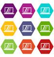 laptop icon set color hexahedron vector image vector image