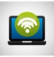 laptop icon wifi social media vector image vector image