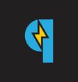 letter q thunder shape geometric logo vector image vector image