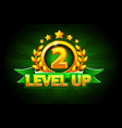 level up banner with green ribbon and text vector image