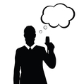 man with speech bubble and glass in hand vector image vector image