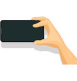 mobile phone in hand making photo vector image