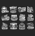 motorcycle isolated icons biker club motorsport vector image vector image