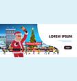 santa holding bell christmas market holiday fair vector image vector image