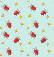 seamless pattern with cut bugs and flowers vector image vector image