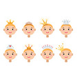 set cartoon crowns isolated on white vector image vector image
