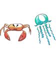 set crab medusa vector image vector image