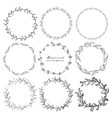 set of botanical round frame hand drawn flowers vector image vector image
