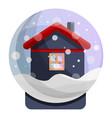snowglobe house icon cartoon style vector image
