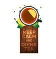 tea time cup of tea with lemon wooden background vector image vector image