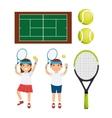 tennis player character racket balls court vector image