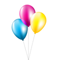 Three balloons isolated on white vector image vector image