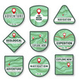 topography navigation icons with topographic map vector image