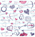valentines day seamless notebook doodle pattern vector image