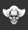 vintage monochrome creepy angry clown skull vector image vector image