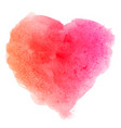 Watercolor pink brush texture heart shaped stain vector image