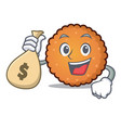 with money bag cookies character cartoon style vector image