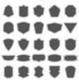 set of blank empty dark shields shield badge vector image