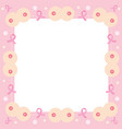 border decoration with pink ribbon and breast vector image