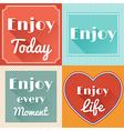 Set of Enjoy Life Motivating Retro Cards Design vector image