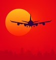 Sunset and Air Plane vector image