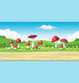 a landscape with mushrooms vector image
