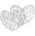 adult coloring bookpage a pair of valentines vector image vector image