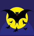 bat for the night halloween silhouette vector image