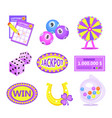 bingo lotto icon set lottery win jackpot badges vector image vector image