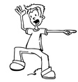 black and white hand drawn boy shouting vector image