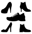 black boots men and women icons set on whit vector image vector image