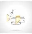 Brass wind instrument flat line icon