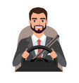 businessman driving a car man clothing in vector image