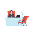 businessman working on a laptop computer vector image vector image