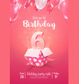 celebrating 6 years birthday 3d vector image