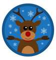 christmas funny deer flat design vector image vector image